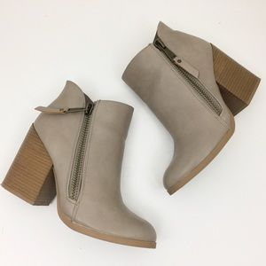 CHARLOTTE RUSSE Taupe Chunky Heel Ankle Booties